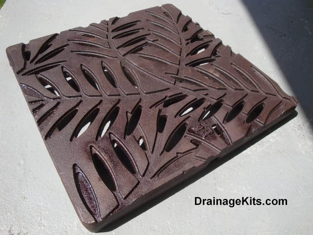 Cast iron 12x12 catch basin grate - stepping stone - Locust pattern