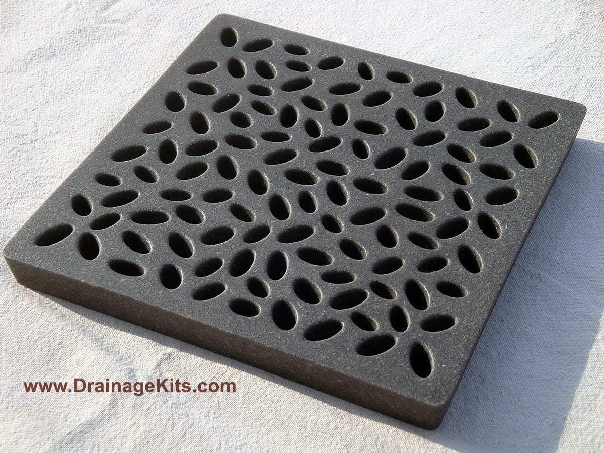Jonite baby pebbles catch basin charcoal black 12 x 12
