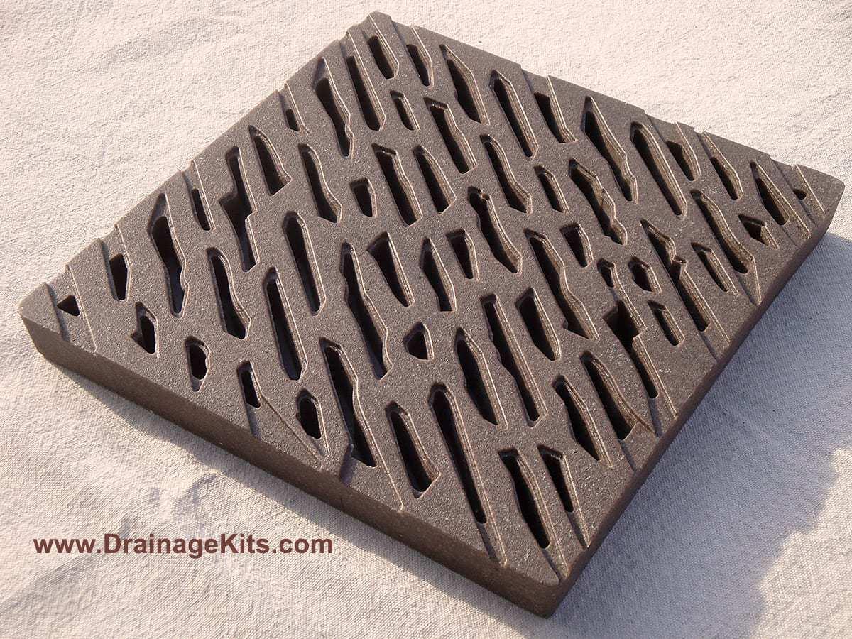 Jonite catch basin grate - chiseled rain - mocca brown