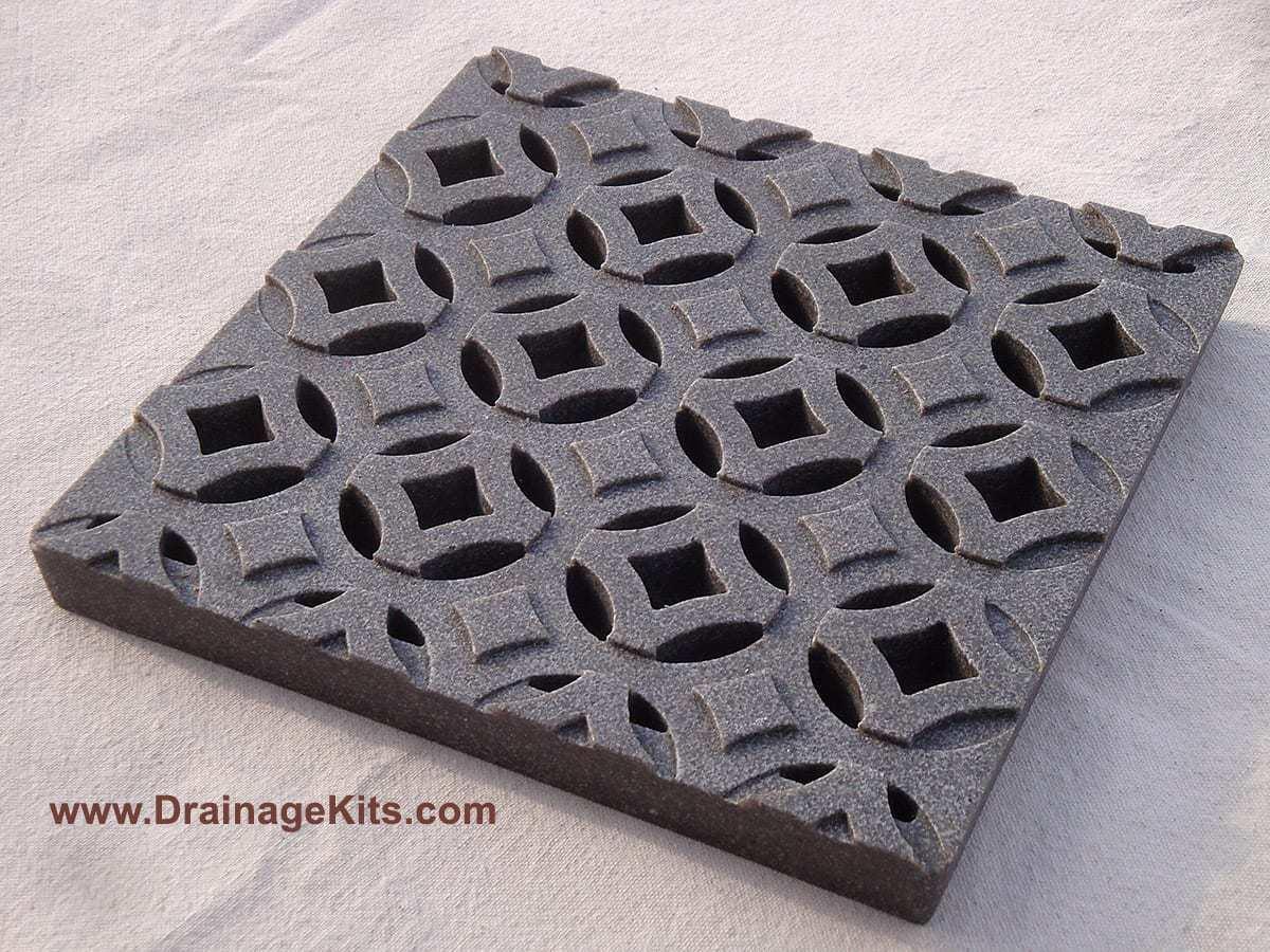 Jonite catch basin grate - 12x12 - Keyholes - Slate Grey