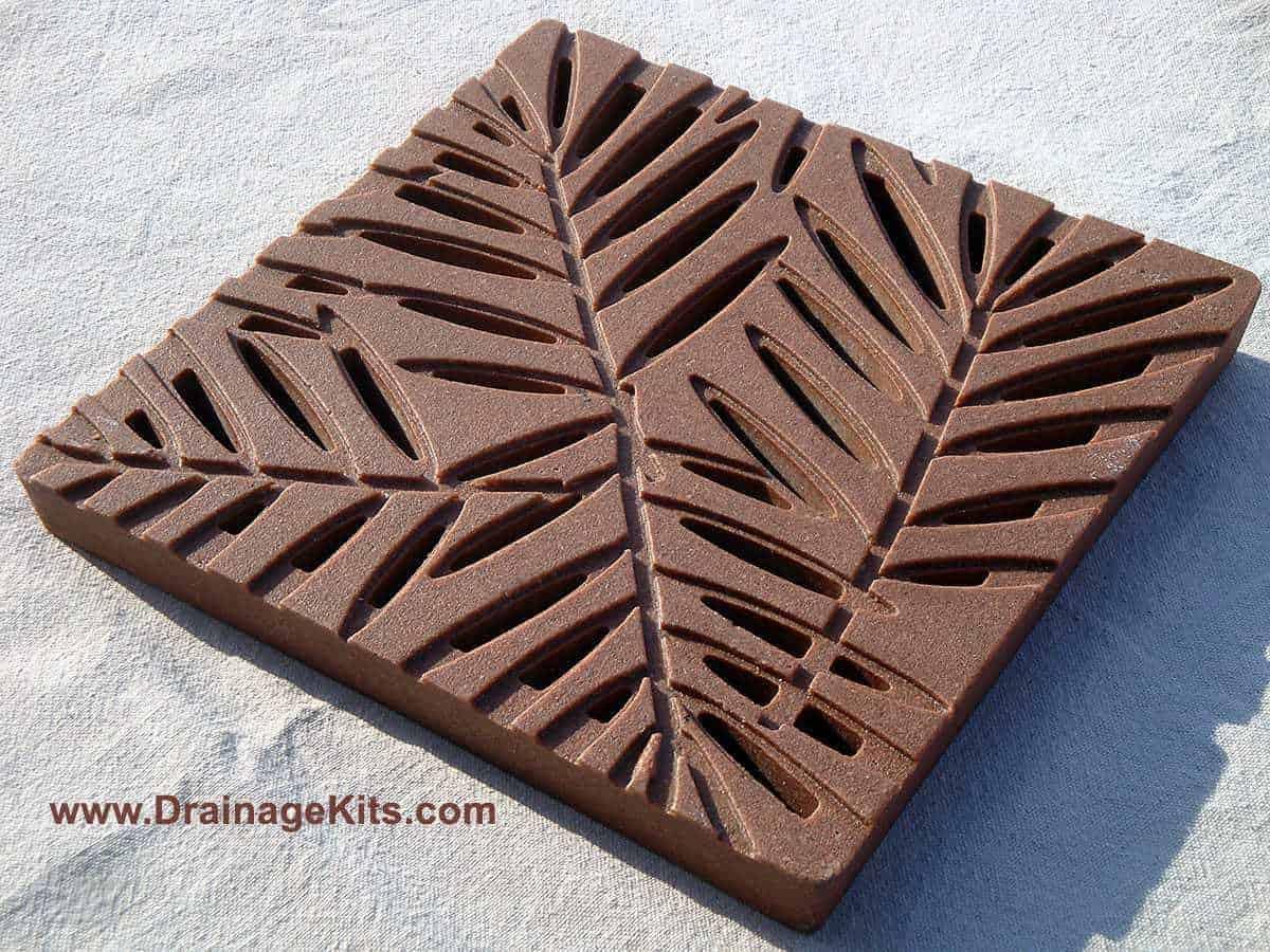 Jonite grate - Palm pattern - Terracotta red