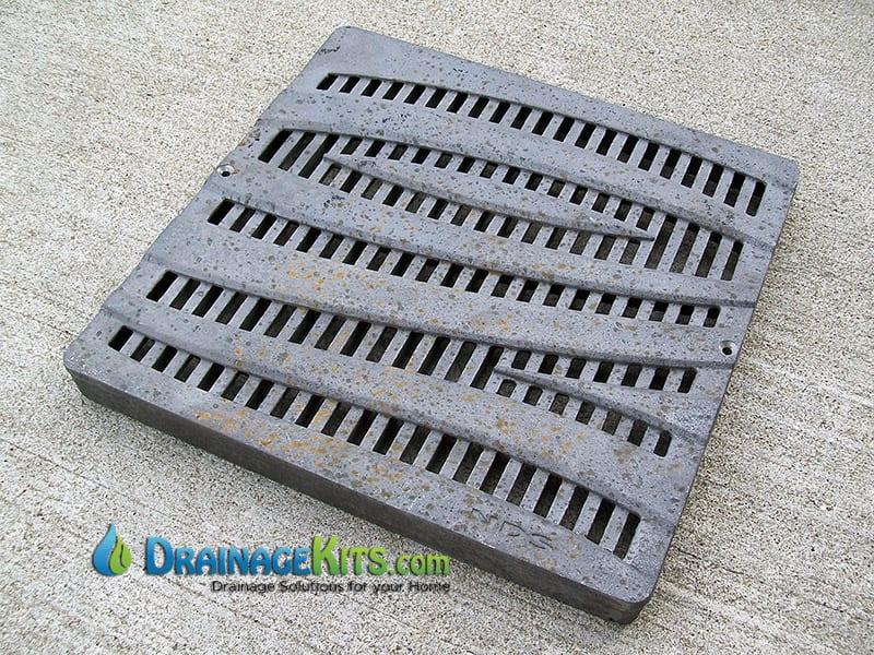 NDS1224CI Cast Iron catch basin grate 12x12 Wave Pattern