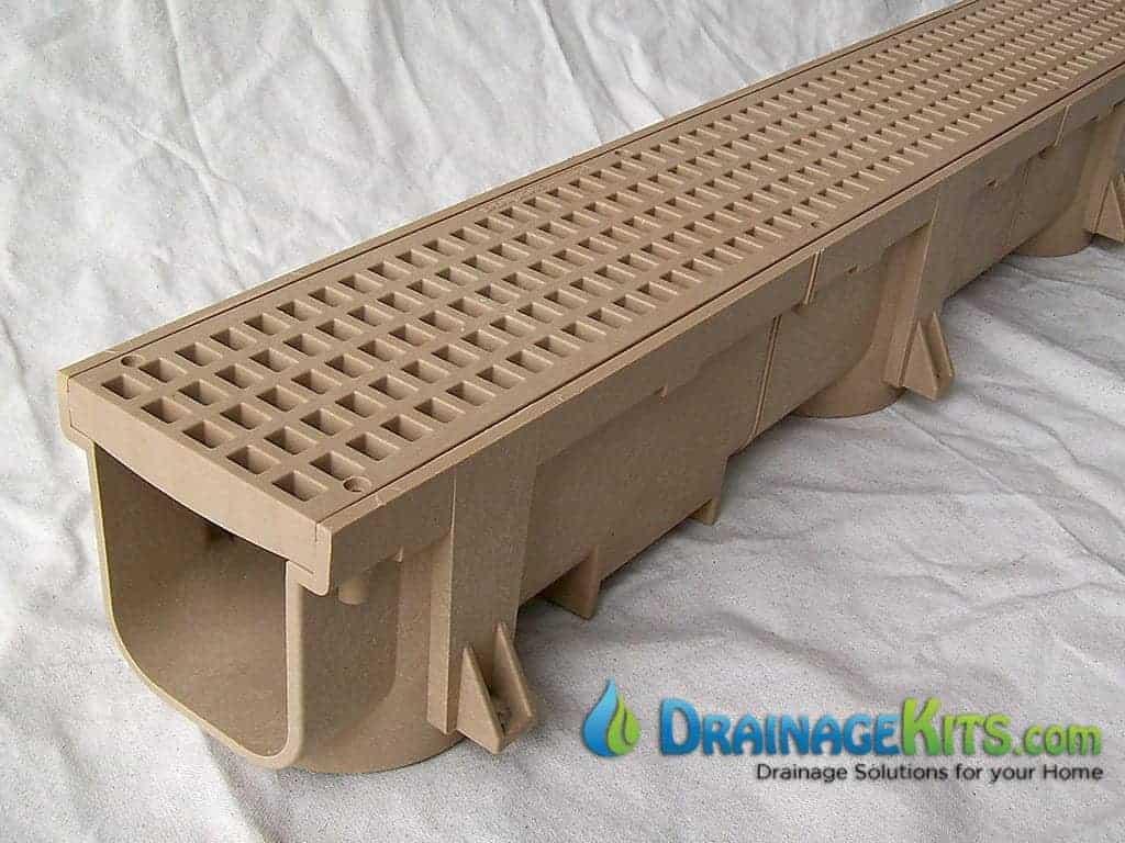 Driveway Drain - Tan - w/grate in flat top position