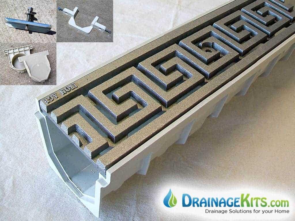 Mearin100 Drainage Kit with Greek Key pattern cast iron grates