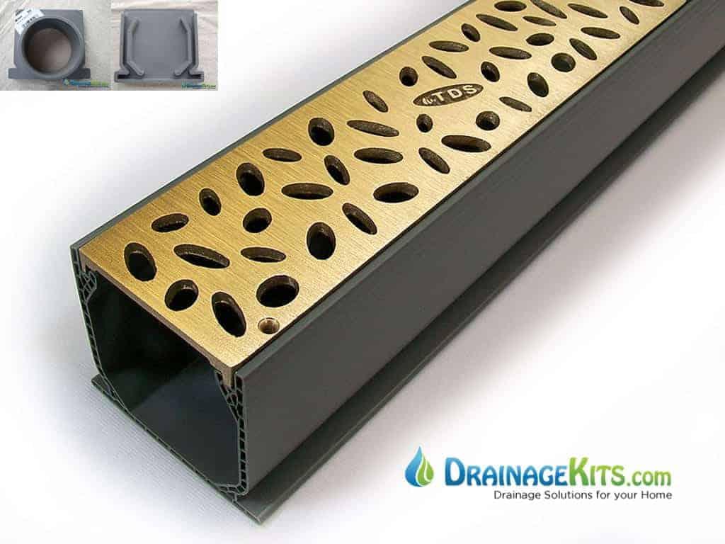 Mini Channel Kit w/Bronze grates - Rain Drop - brushed satin finish