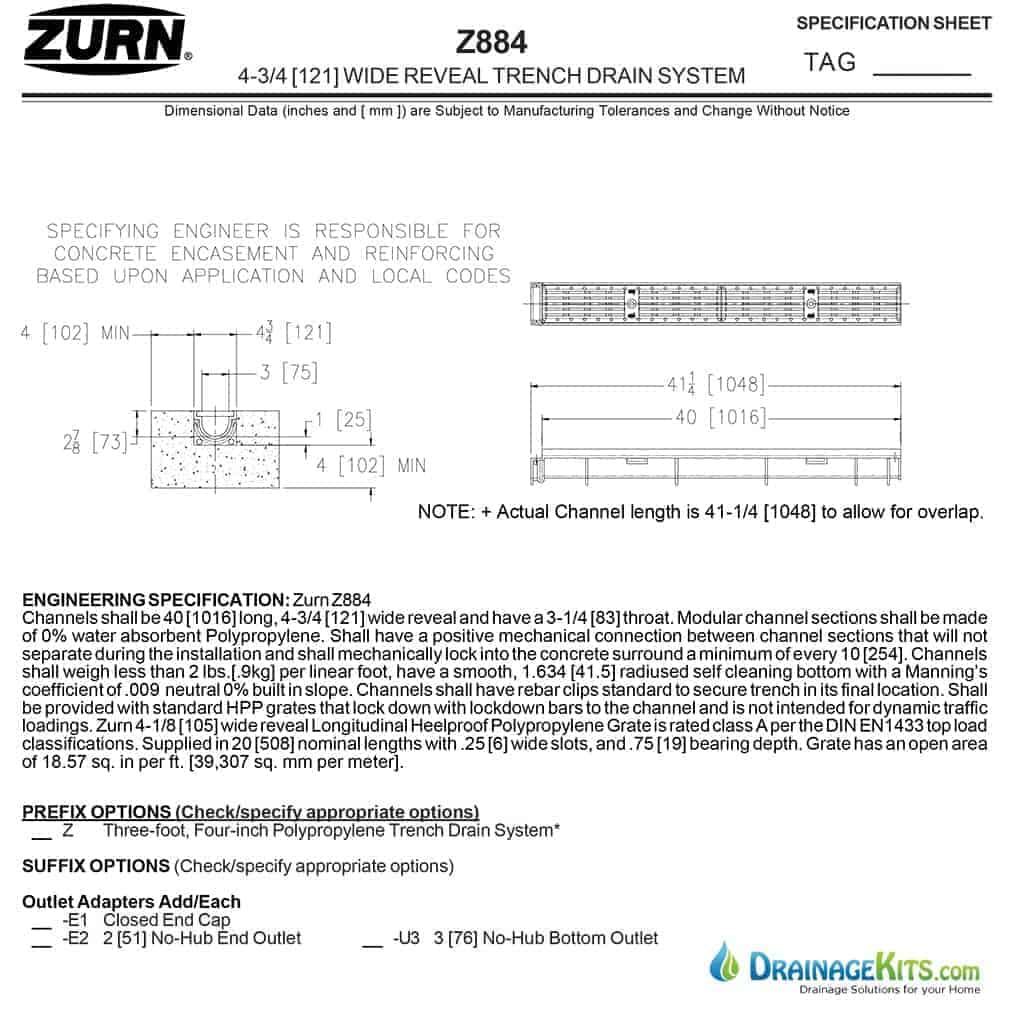 Zurn Z884 cut sheet