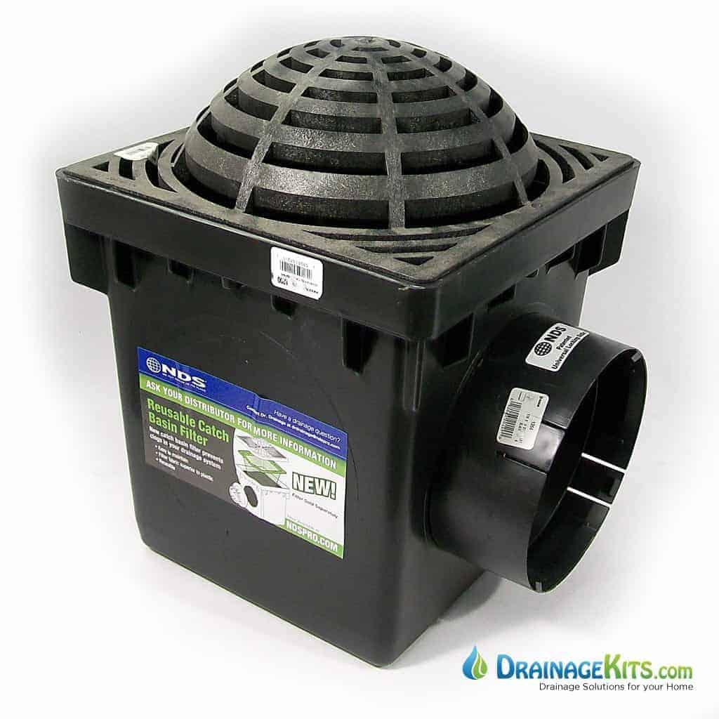 "12x12 Catch Basin Kit with Atrium grate - black w/6"" outlet"