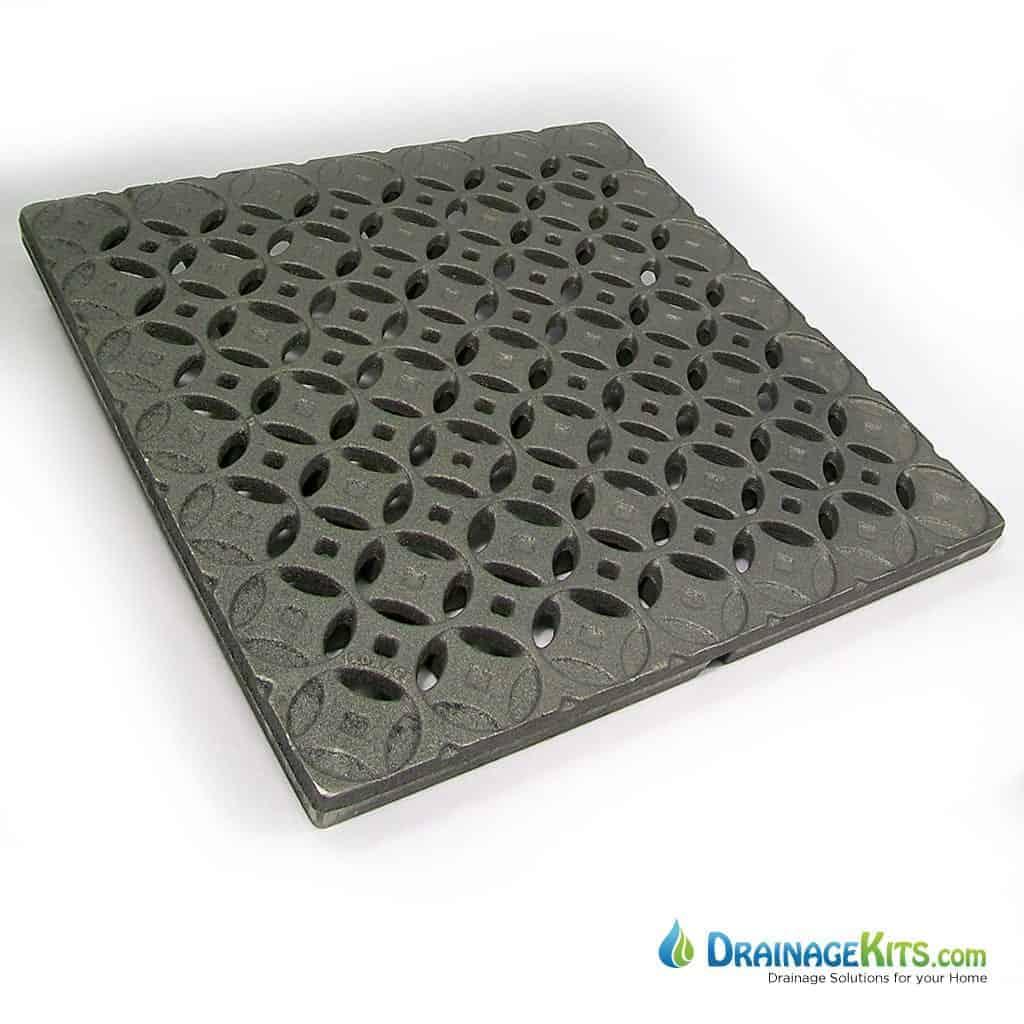 Iron Age 18x18 cast iron catch basin grate - Interlaken pattern
