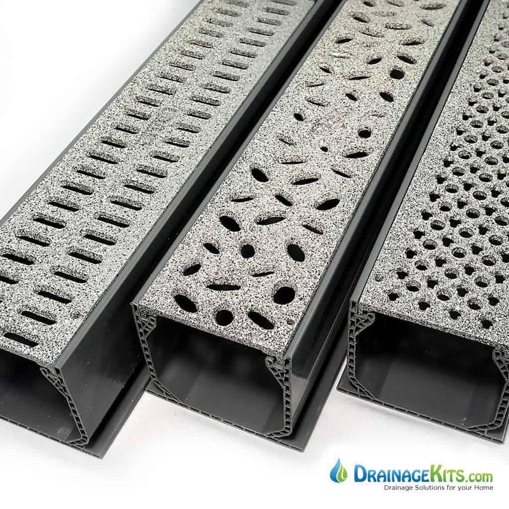 Mini Channel kits w/aluminum grates - powder coated Granite
