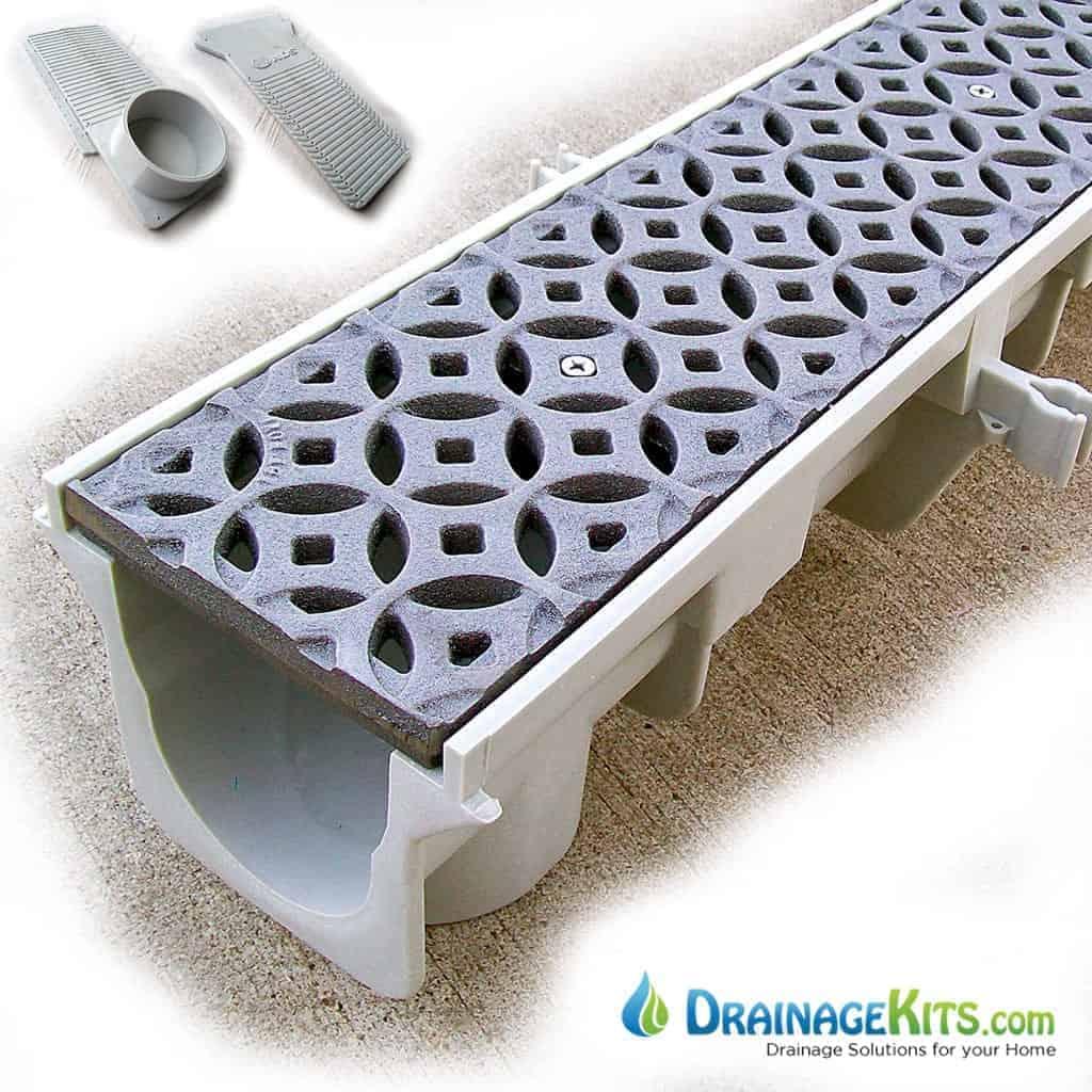 Dura Slope drainage kit with IA Interlaken cast iron grates