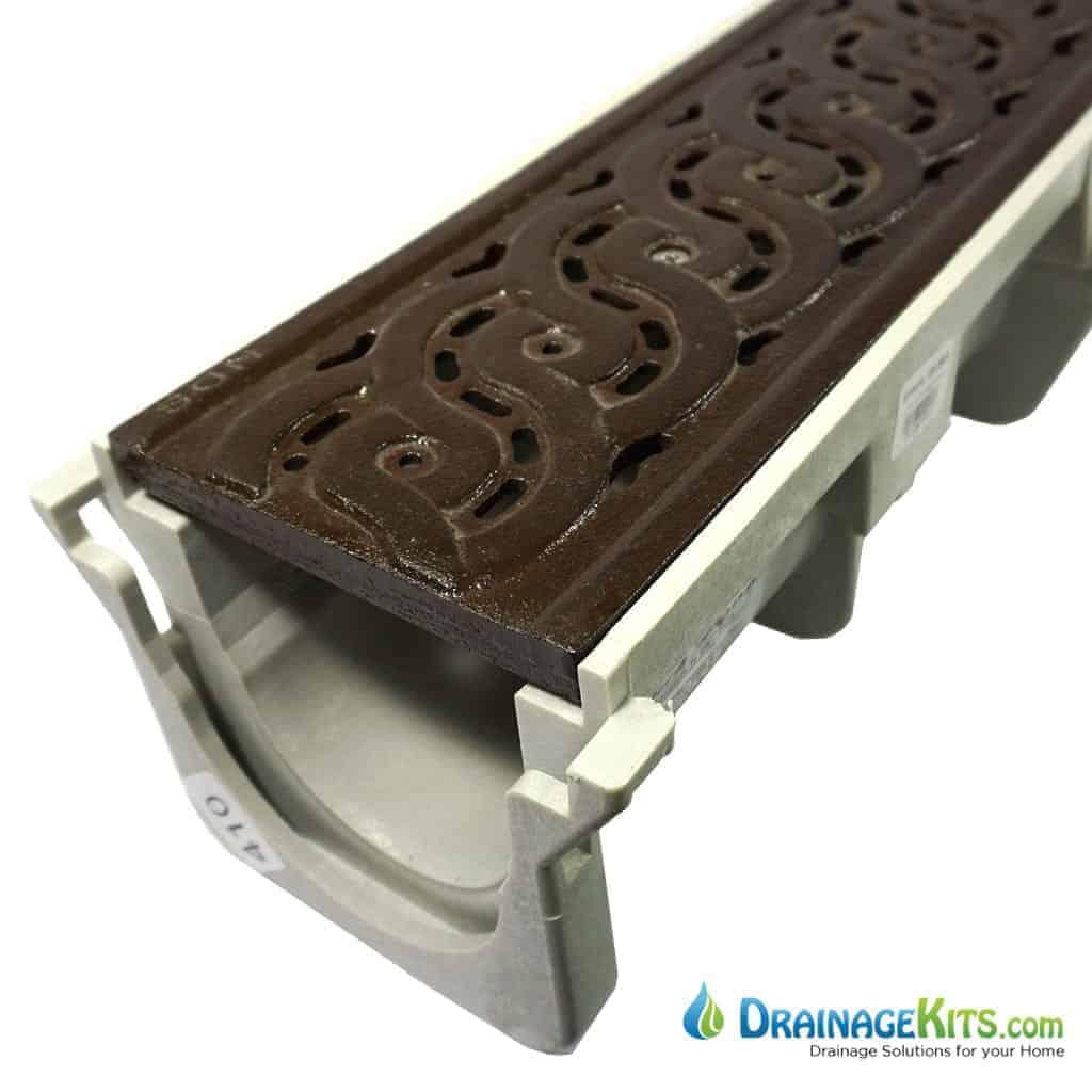 NDS Dura Slope drain Decorative Weave cast iron grate w/boof