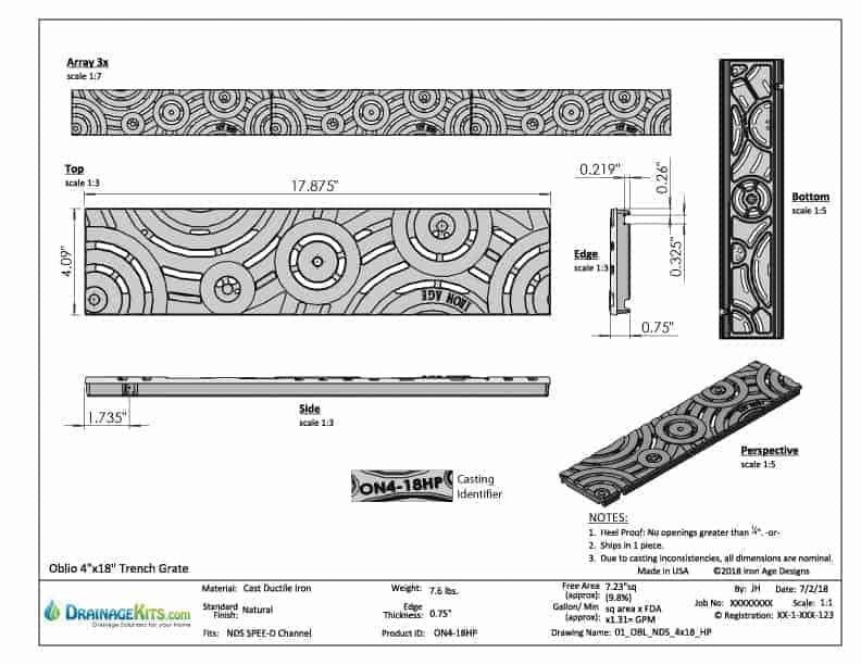 Oblio heelproof grate - cut sheet - for Spee-D channel