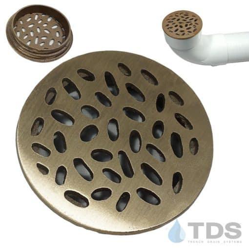 TDS-4in-dia-bronze-rain-drop-grate-brushed-satin-finish