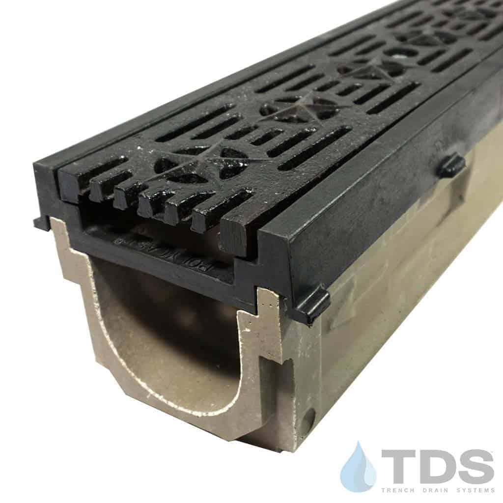 POLY700-PE-692-TDSdrains HPDE frame cast iron patriot grate polymer concrete channel Polycast