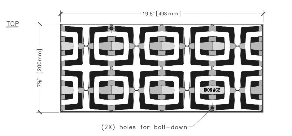 8x20 cast iron deco carbochon grate Ironage