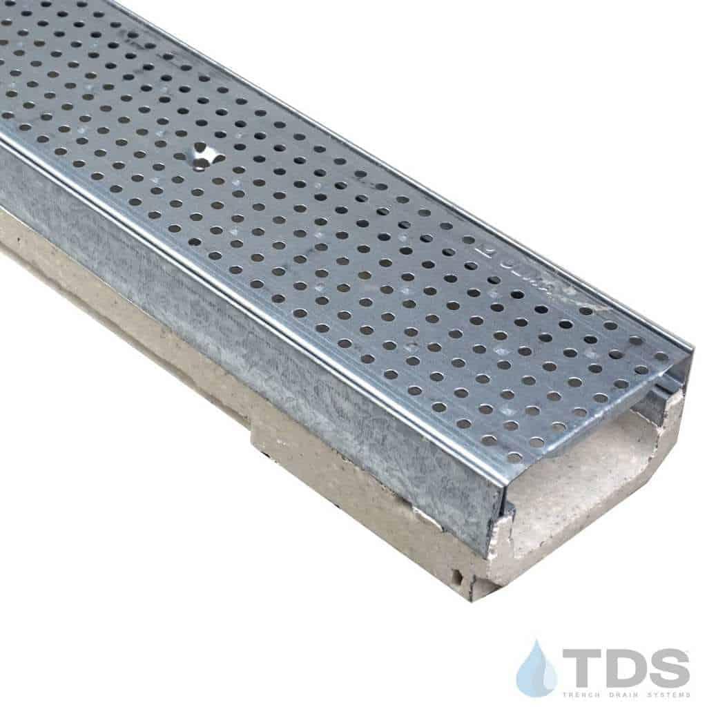 M100K-GP100KCA Galvanized perforated grate polymer concrete galv edge ULMA channel