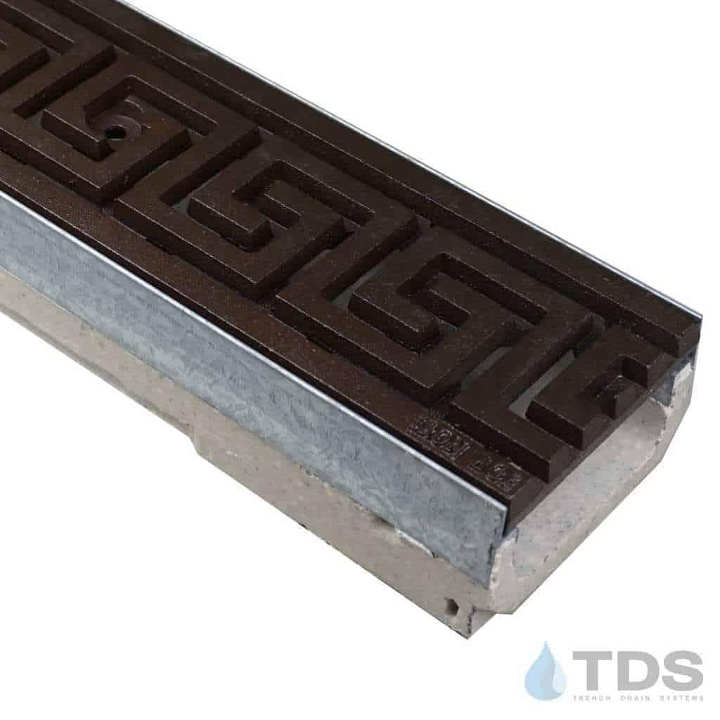M100K-GreekKey-boof ironage cast iron deco grate shallow ULMA channel galv edge