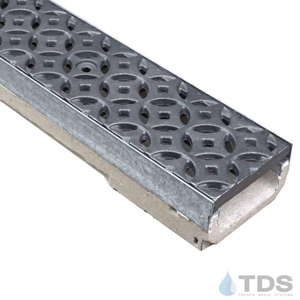 M100K-Interlaken raw cast iron deco grate polymer concrete galv edge ULMA channel
