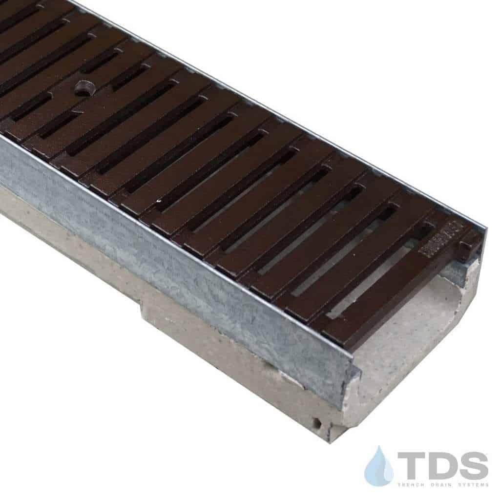 M100K-RegularJoe-boof cast iron ironage grate polymer concrete channel galv edge