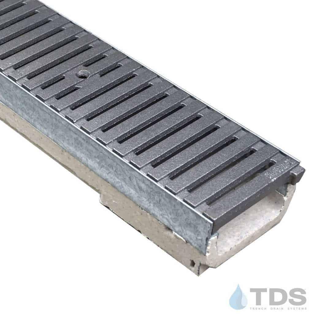 M100K-RegularJoe Cast Iron Deco raw Iron Age grate polymer concrete galv edge ULMA channel