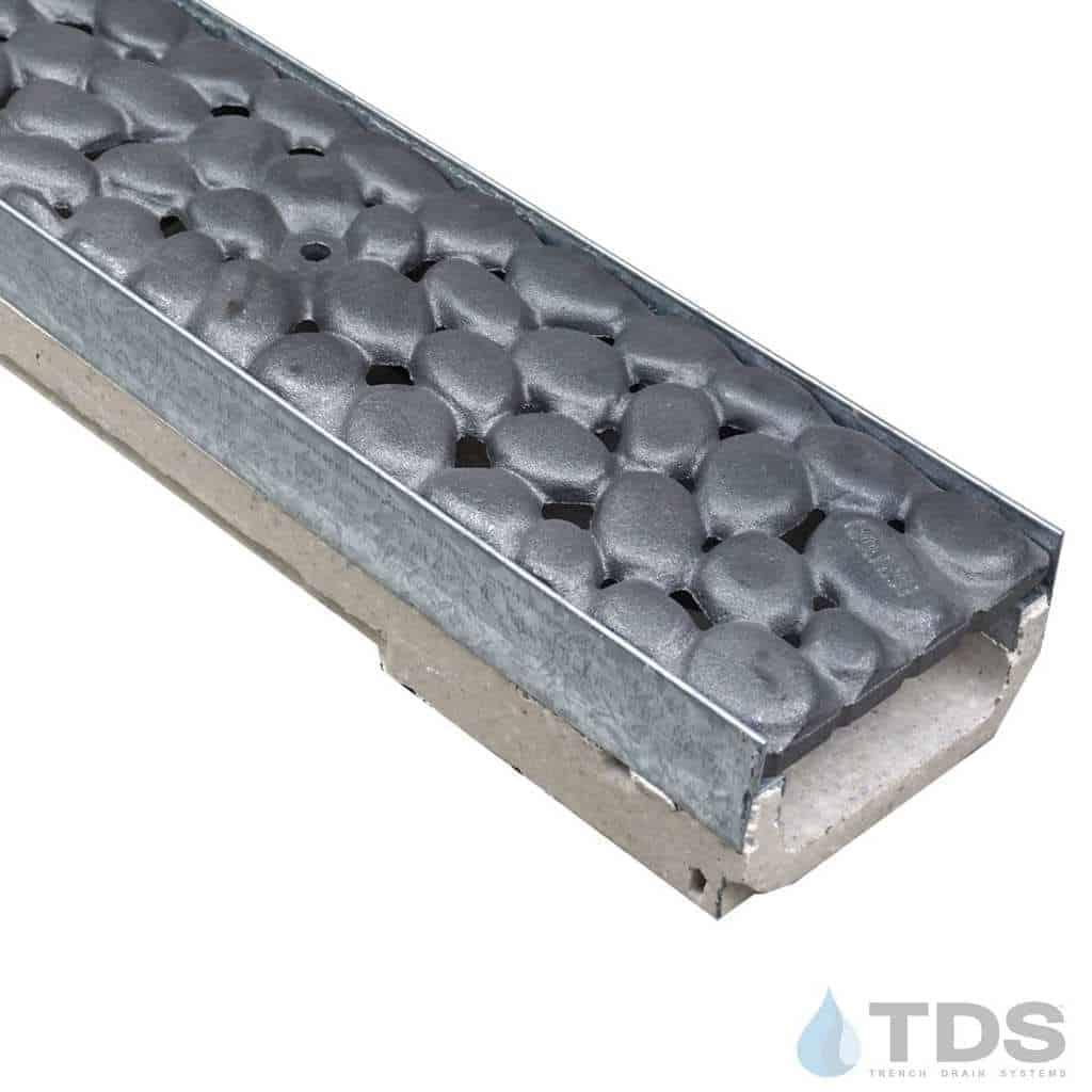 M100K-River Rock Iron Age deco raw cast iron grate polymer concrete galv edge ULMA channel