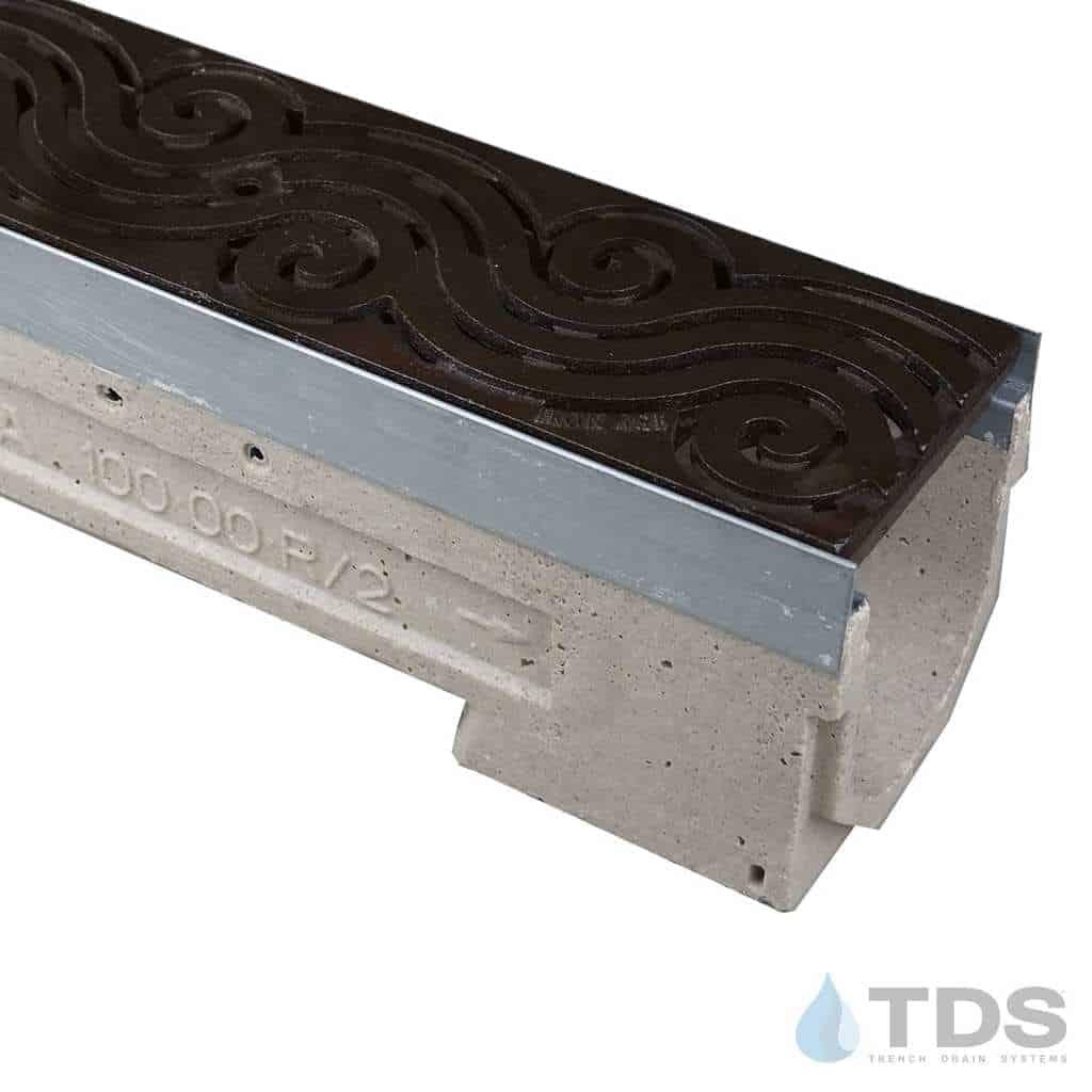 U100K-Argo-boof cast iron deco ironage grate polymer concrete ULMA channel galv edge