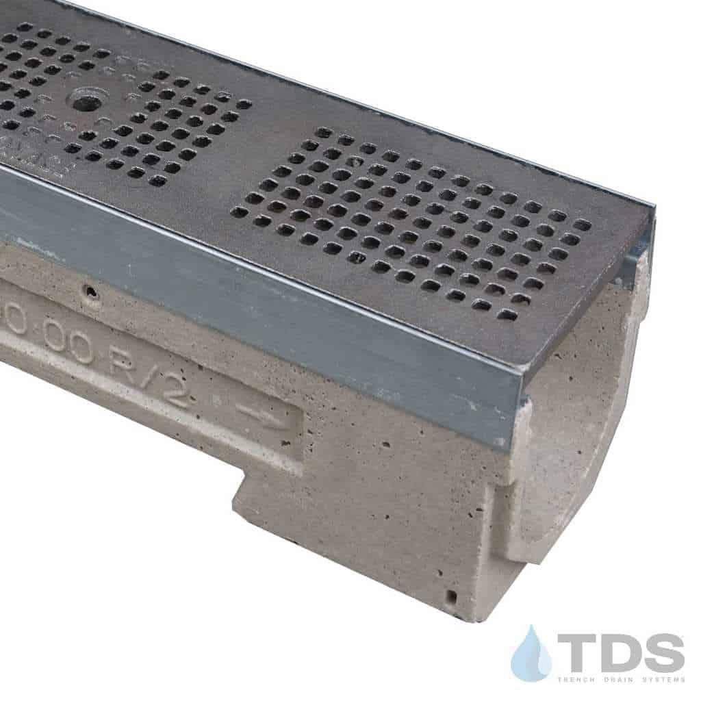 U100K-MissionBay Cast Iron deco ironage grate polymer concrete channel ULMA galv edge