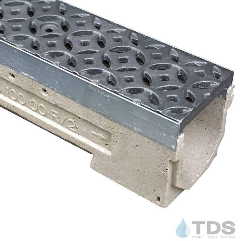 U100K00M-Interlaken Iron age deco cast iron raw grate polymer concrete galv edge ULMA channel