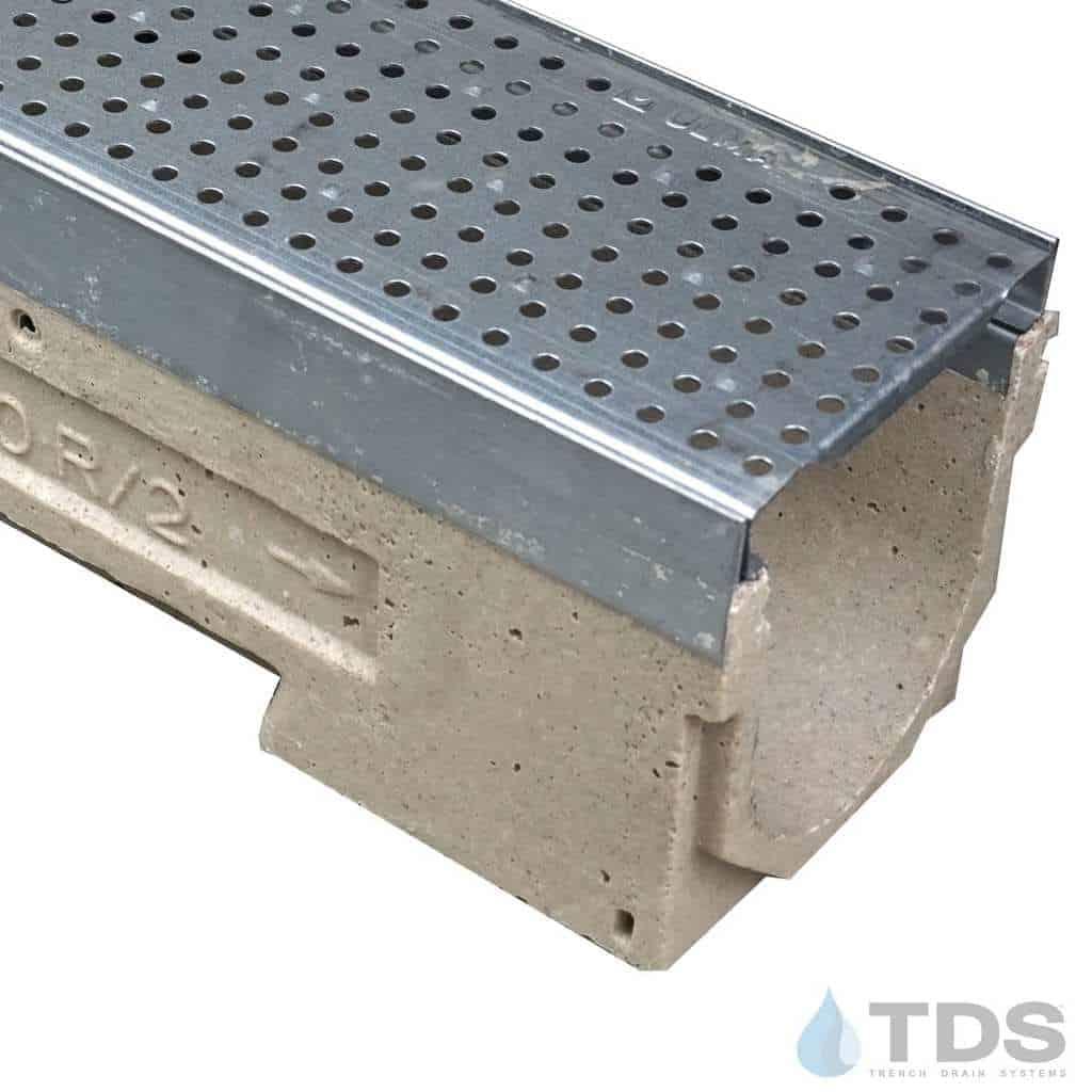 U100KM-GP100KCA 402 galv. steel perforated grate class a polymer concrete galv edge ULMA channel