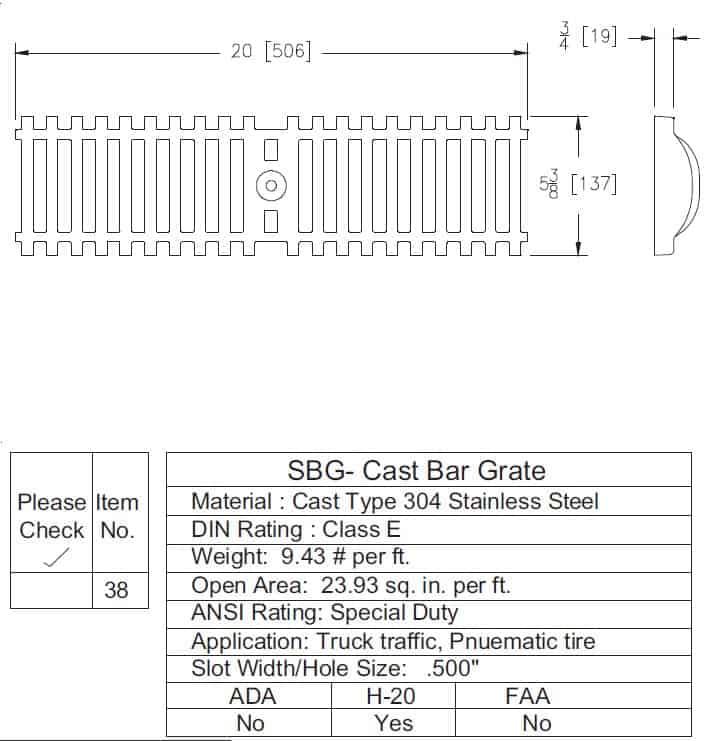 P6-SBG Z886 Stainless Steel Reinforced Bar Grate-Spec