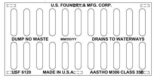 US Foundry 6120 12x24x2 cast iron heavy duty grate