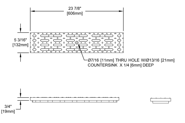POLYCAST Hubbell DG0675 transverse slotted high density polyethylene grate dimensions
